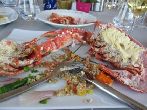 my half demolished lobster - a considerable amount spread down my front and on the cloth.