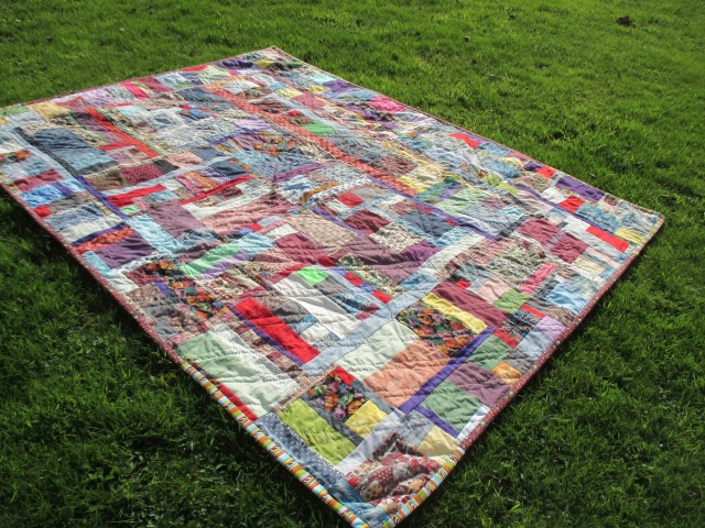 Double bed size Scrappy Quilt started 1st August, finished 26th October 2015