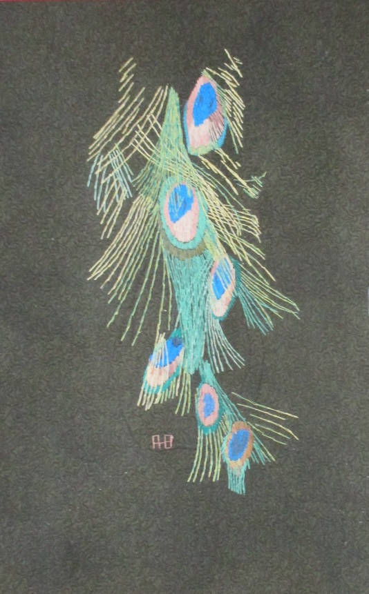 Jock's embroidery, bunch of peacock feathers